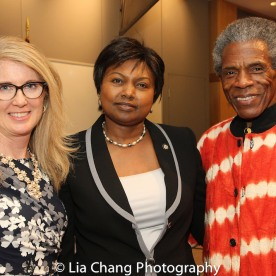 """Sally Crimmins Villela, SUNY Assistant Vice Chancellor for Global Affairs; Mathilde Mukantabana, Ambassador of the Republic of Rwanda to the United States of America; André De Shields at the """"Celebrate Rwanda"""" event at The SUNY Global Center in New York on June 29, 2016. Photo by Lia Chang"""