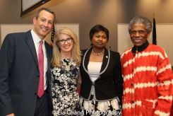 "Drew Kahn, Professor of Theater at Buffalo State College and Founder of The Anne Frank Project, Sally Crimmins Villela, SUNY Assistant Vice Chancellor for Global Affairs; Mathilde Mukantabana, Ambassador of the Republic of Rwanda to the United States of America; André De Shields at the ""Celebrate Rwanda"" event at The SUNY Global Center in New York on June 29, 2016. Photo by Lia Chang"
