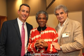 "Drew Kahn, Professor of Theater at Buffalo State College and Founder of The Anne Frank Project, André De Shields and Jim Mirrione at the ""Celebrate Rwanda"" event at The SUNY Global Center in New York on June 29, 2016. Photo by Lia Chang"