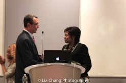 """Drew Kahn, Professor of Theater at Buffalo State College and Founder of The Anne Frank Project and Mathilde Mukantabana, Ambassador of the Republic of Rwanda to the United States of America, at the """"Celebrate Rwanda"""" event at The SUNY Global Center in New York on June 29, 2016. Photo by Lia Chang"""
