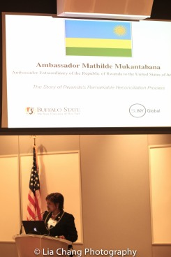 "Mathilde Mukantabana, Ambassador of the Republic of Rwanda to the United States of America, speaks at the ""Celebrate Rwanda"" event at The SUNY Global Center in New York on June 29, 2016. Photo by Lia Chang"