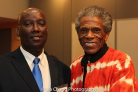 "Author Aimable Twagilimana, Professor, SUNY Buffalo State and André De Shields at the ""Celebrate Rwanda"" event at The SUNY Global Center in New York on June 29, 2016. Photo by Lia Chang"