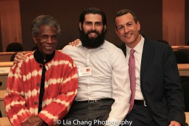 "André De Shields, Afrim Gjonbalaj and Drew Kahn, Professor of Theater at Buffalo State College and Founder of The Anne Frank Project at the ""Celebrate Rwanda"" event at The SUNY Global Center in New York on June 29, 2016. Photo by Lia Chang"