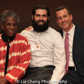 """André De Shields, Afrim Gjonbalaj and Drew Kahn, Professor of Theater at Buffalo State College and Founder of The Anne Frank Project at the """"Celebrate Rwanda"""" event at The SUNY Global Center in New York on June 29, 2016. Photo by Lia Chang"""