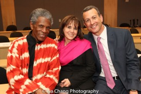 "André De Shields, Dr. Maryalice Mazzara, Director of Education Programs, SUNY's Office of Global Affairs; and Drew Kahn, Professor of Theater at Buffalo State College and Founder of The Anne Frank Project at the ""Celebrate Rwanda"" event at The SUNY Global Center in New York on June 29, 2016. Photo by Lia Chang"