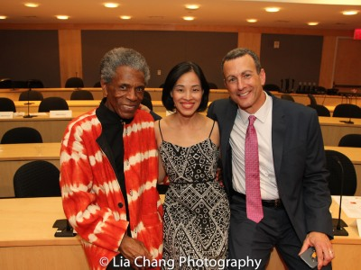 """André De Shields, Lia Chang and Drew Kahn at the """"Celebrate Rwanda"""" event at The SUNY Global Center in New York on June 29, 2016. Photo by Garth Kravits"""