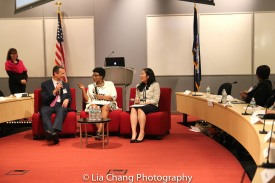 "Drew Kahn, Professor of Theater at Buffalo State College and Founder of The Anne Frank Project; Jeanne d'Arc Byale, Deputy Permanent Representative of the Permanent Mission of the Republic of Rwanda to the United Nations; and Helen Jeon, Assistant to the Director of Educational Programs at SUNY's Office of Global Affairs at the ""Celebrate Rwanda"" event at The SUNY Global Center in New York on June 29, 2016. Photo by Lia Chang"
