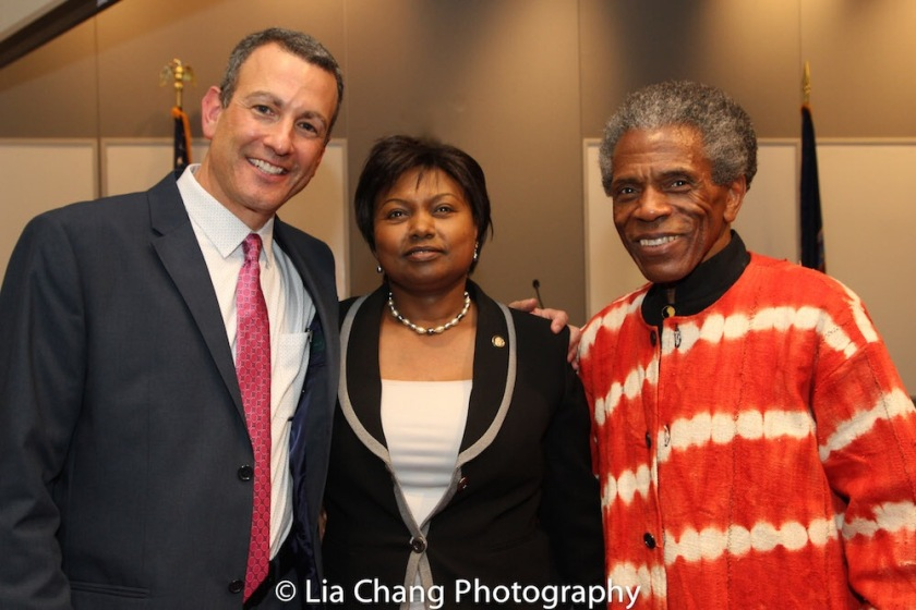 """Drew Kahn, Professor of Theater at Buffalo State College and Founder of The Anne Frank Project; Mathilde Mukantabana, Ambassador of the Republic of Rwanda to the United States of America; André De Shields at the """"Celebrate Rwanda"""" event at The SUNY Global Center in New York on June 29, 2016. Photo by Lia Chang"""