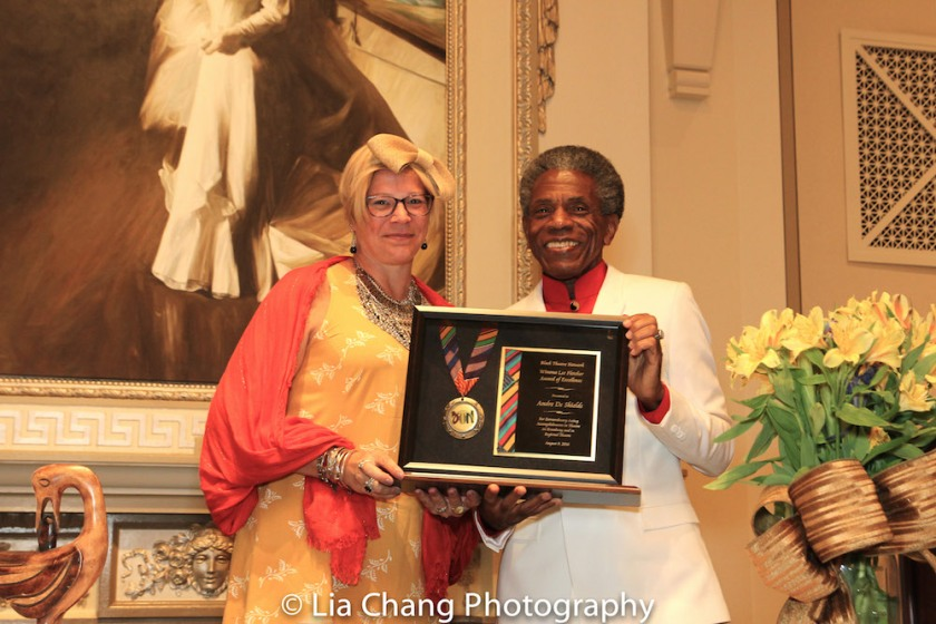BTN President kb saine presents André De Shields with the 2016 Winona Lee Fletcher Award at BTN's 30th Anniversary Bruncheon at the Palmer House Hilton in Chicago on August 9, 2016. Photo by Lia Chang