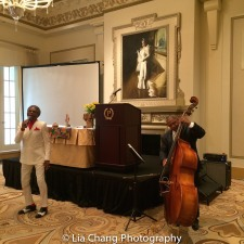 André De Shields performs 'Smile', accompanied by Tony J. Mhoon on double bass at BTN's 30th Anniversary Bruncheon at the Palmer House Hilton in Chicago on August 9, 2016. Photo by Lia Chang