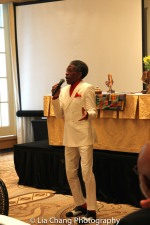 André De Shields performs 'Smile' at BTN's 30th Anniversary Bruncheon at the Palmer House Hilton in Chicago on August 9, 2016. Photo by Lia Chang