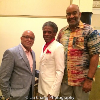 BTN Vice President Dr. John Shévin Foster, André De Shields and Michael Dinwiddie at BTN's 30th Anniversary Bruncheon at the Palmer House Hilton in Chicago on August 9, 2016. Photo by Lia Chang