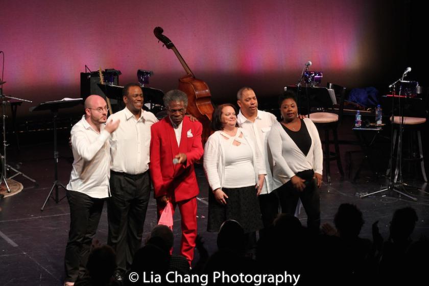Doug Peck, Robert Reddrick, André De Shields, Kimberly Lawson, Anthony J. Mhoon and Donica Lynn. Photo by Lia Chang