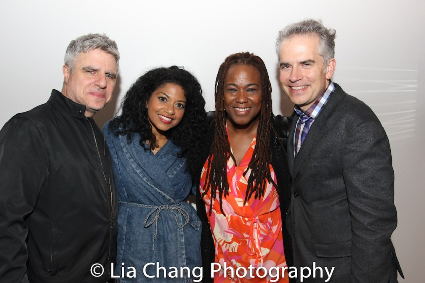 MARIE AND ROSETTA director Neil Pepe, stars Rebecca Naomi Jones and Kecia Lewis, playwright George Brant. Photo by Lia Chang
