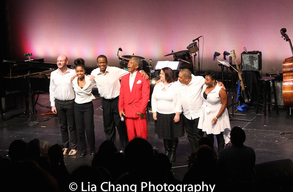 Doug Peck, Taylor Moore, Robert Reddrick, André De Shields, Kimberly Lawson, Anthony J. Mhoon and Donica Lynn. Photo by Lia Chang