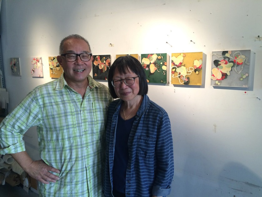 Arlan Huang and his wife Lillian Ling during Gowanus Arts Walk 2016 on October 16, 2016. Photo by Lia Chang
