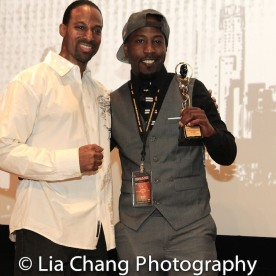 "Demetrius Angelo and Marco Da Answer Johnson, who accepted the Masters and Mentors Award for his father, Willie ""Bam"" Johnson at the UAS IAFF Awards at HBO in New York on November 11, 2016. Photo by Lia Chang"