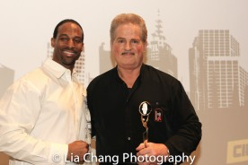 Demetrius Angelo and Masters and Mentors honoree Gary Young at the UAS IAFF Awards at HBO in New York on November 11, 2016. Photo by Lia Chang