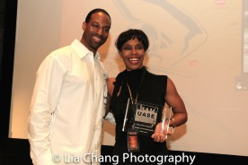 Demetrius Angelo and UAS Angels of Action honoree Cheryl Lewis at the UAS IAFF Awards at HBO in New York on November 11, 2016. Photo by Lia Chang