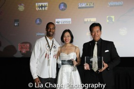Demetrius Angelo presented the Lia Chang and Peter Kwong with the 2016 Martial Arts Cult Classic Cinemas Award for Big Trouble in Little China's 30th Anniversary at the 4th Annual Urban Action Showcase and Expo at the AMC Empire 25 Times Square in New York on November 12, 2016. Photo by Lori Tan Chinn