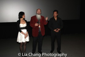 Lia Chang, Ric Meyers and Peter Kwong after the 30th Anniversary screening of BIG TROUBLE IN LITTLE CHINA at the 4th Annual Urban Action Showcase and Expo at the AMC Empire 25 Times Square in New York on November 12, 2016. Photo by Garth Kravits