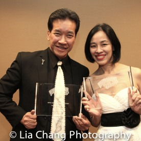 Peter Kwong and Lia Chang received the 2016 Martial Arts Cult Classic Cinemas Award for Big Trouble in Little China's 30th Anniversary at the 4th Annual Urban Action Showcase and Expo at the AMC Empire 25 Times Square in New York on November 12, 2016. Photo by Lori Tan Chinn