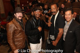 """Alan Goldberg, Robert Samuels, Fred """"The Hammer"""" Williamson and Peter Kwong at the Cinemax® VIP Welcome Red Carpet Reception and UAS IAFF Awards at HBO in New York on November 11, 2016. Photo by Lia Chang"""