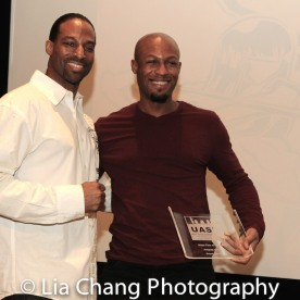 Demetrius Angelo and Phoenix Award honoree Emmanuel Brown at the UAS IAFF Awards at HBO in New York on November 11, 2016. Photo by Lia Chang