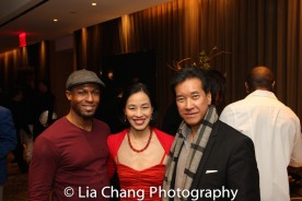 Emmanuel Brown, Peter Kwong and Lia Chang at the Cinemax® VIP Welcome Red Carpet Reception and UAS IAFF Awards at HBO in New York on November 11, 2016. Photo by Garth Kravits