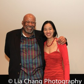 SAG-Aftra New York local President Mike Hodge and Lia Chang at the Cinemax® VIP Welcome Red Carpet Reception and UAS IAFF Awards at HBO in New York on November 11, 2016.