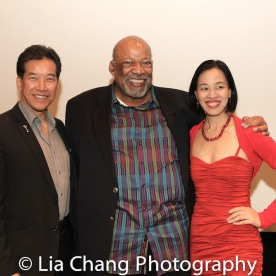 Peter Kwong, SAG-Aftra New York Local President Mike Hodge and Lia Chang at the Cinemax® VIP Welcome Red Carpet Reception and UAS IAFF Awards at HBO in New York on November 11, 2016.