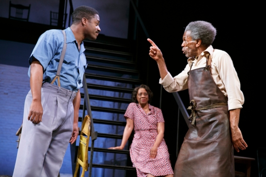 Wayne T. Carr, Stephanie Berry, and André De Shields in August Wilson's Seven Guitars, directed by Timothy Douglas. Photo by Joan Marcus 2016.