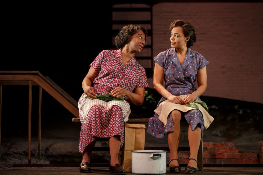 Stephanie Berry and Rachel Leslie in August Wilson's Seven Guitars, directed by Timothy Douglas. Photo by Joan Marcus 2016.