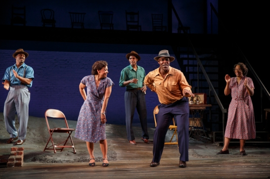 Wayne T. Carr, Rachel Leslie, Billy Eugene Jones, Danny Johnson, and Stephanie Berry in August Wilson's Seven Guitars, directed by Timothy Douglas. Photo by Joan Marcus 2016.