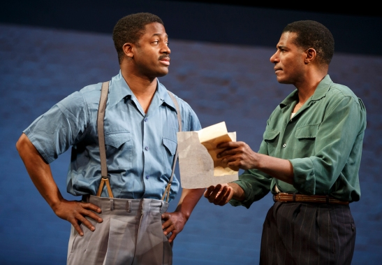 Wayne T. Carr and Billy Eugene Jones in August Wilson's Seven Guitars, directed by Timothy Douglas. Photo by Joan Marcus 2016.