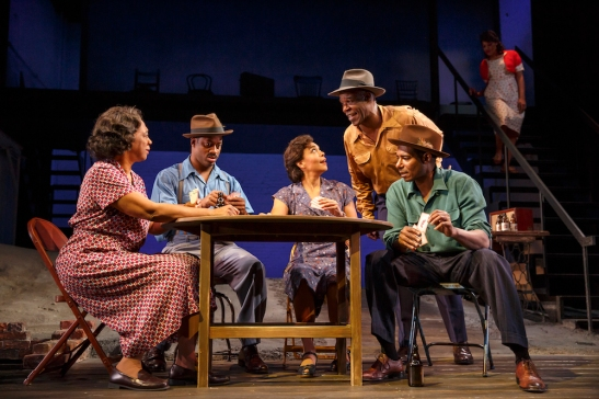 Stephanie Berry, Wayne T. Carr, Rachel Leslie, Danny Johnson, Billy Eugene Jones, and Antoinette Crowe-Legacy in August Wilson's Seven Guitars, directed by Timothy Douglas. Photo by Joan Marcus 2016.