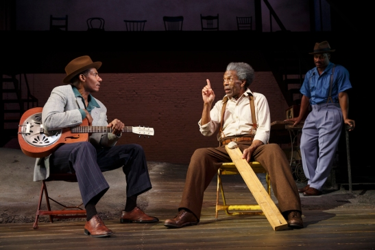 Billy Eugene Jones, André De Shields, and Wayne T. Carr in August Wilson's Seven Guitars, directed by Timothy Douglas. Photo by Joan Marcus 2016.