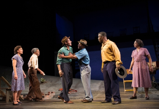 Rachel Leslie, André De Shields, Billy Eugene Jones, Wayne T. Carr, Danny Johnson, and Stephanie Berry in August Wilson's Seven Guitars, directed by Timothy Douglas. Photo by Joan Marcus 2016.