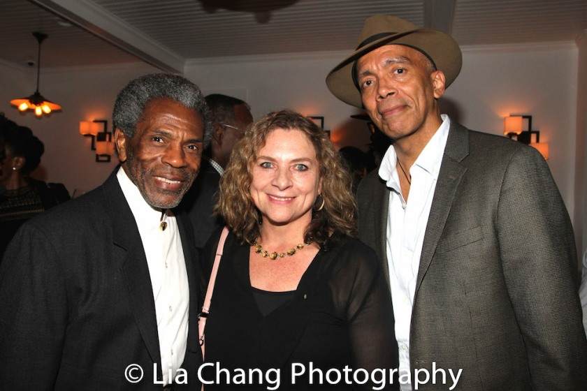 André De Shields, August Wilson's widow Constanza Romero and Timothy Douglas at the opening night celebration at Atelier Florian. Photo by Lia Chang