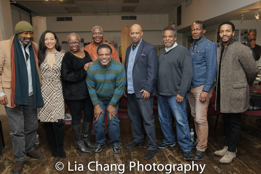 Anthony Chisholm, Carra Patterson, Katti Gray, Marcia Pendleton, Harvy Blanks, Ruben Santiago-Hudson, Ray Anthony Thomas, John Douglas Thompson and André Holland. Photo by Lia Chang