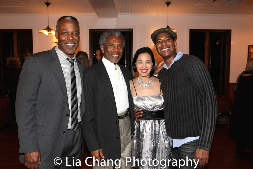 Danny Johnson, André De Shields, Lia Chang and Billy Eugene Jones at the opening night celebration at Atelier Florian. Photo by Lia Chang
