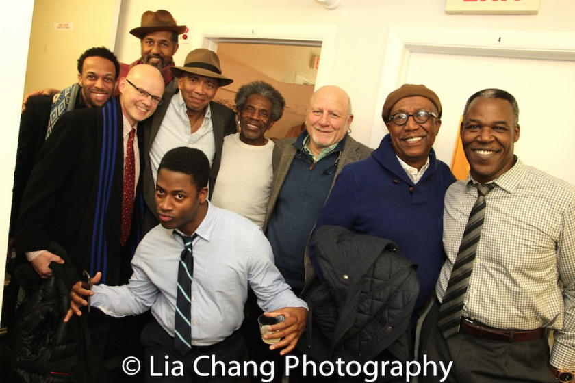 Jamal Story, Dion Graham, James Bundy, Timothy Douglas, Andre De Shields, Tad Schnugg, George Faison, Danny Johnson and Wayne T. Carr backstage at Yale Rep. Photo by Lia Chang