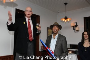 Yale Rep Artistic Director James Bundy and Timothy Douglas at the opening night celebration at Atelier Florian. Photo by Lia Chang