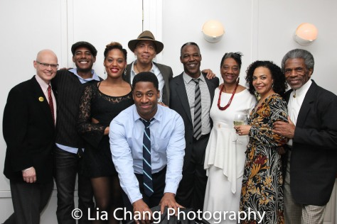 Yale Rep Artistic Director James Bundy with Billy EuGene Jones, Antoinette Crowe-Legacy, director Timothy Douglas (in hat), Wayne T. Carr (foreground), Danny Johnson, Stephanie Berry, Rachel Leslie, and André De Shields at the opening night celebration at Atelier Florian. Photo by Lia Chang