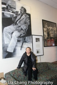 Lori Tan Chinn backstage at Yale Rep. Photo by Lia Chang