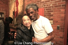 Lori Tan Chinn and her HALFTIME castmate André De Shields, backstage at Yale Rep. Photo by Lia Chang