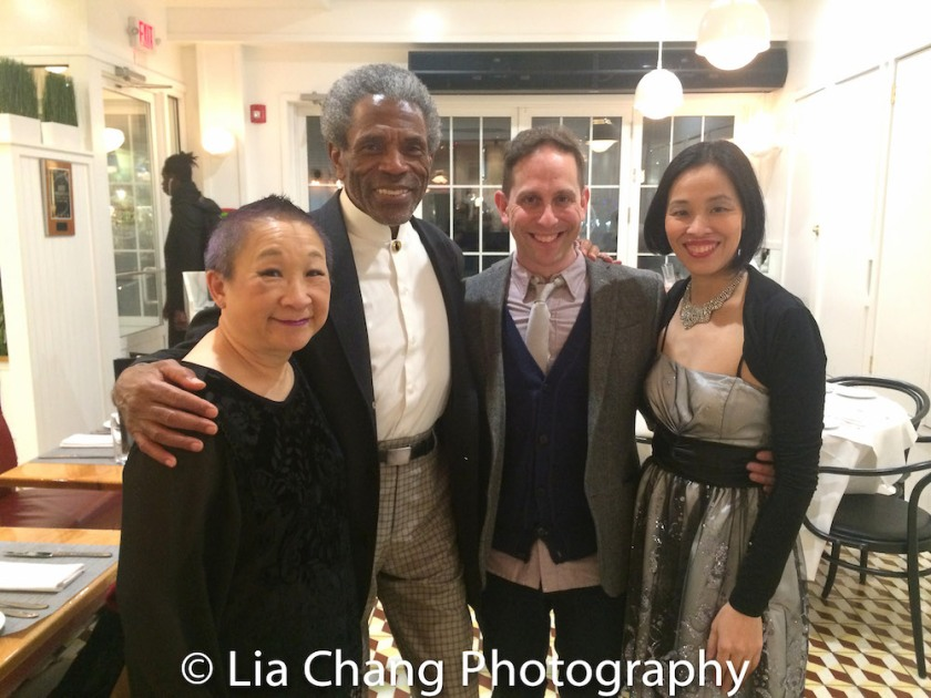 Lori Tan Chinn, André De Shields, Garth Kravits and Lia Chang at the opening night celebration at Atelier Florian. Photo by Lauren E. Banks