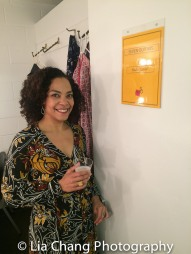 Rachel Leslie backstage at Yale Rep. Photo by Lia Chang