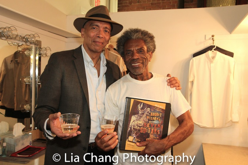 Director Timothy Douglas and André De Shields backstage at Yale Rep. Photo by Lia Chang