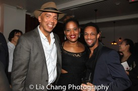 Timothy Douglas, Antoinette Crowe-Legacy and Jamal Story at the opening night celebration at Atelier Florian. Photo by Lia Chang